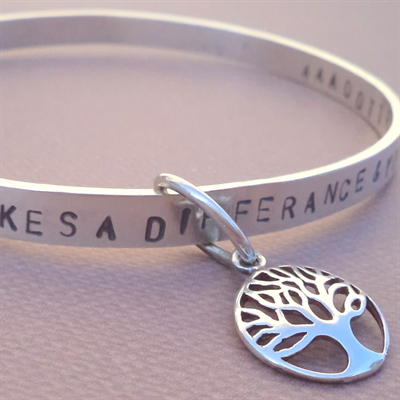 Hand stamped tree of life bracelet