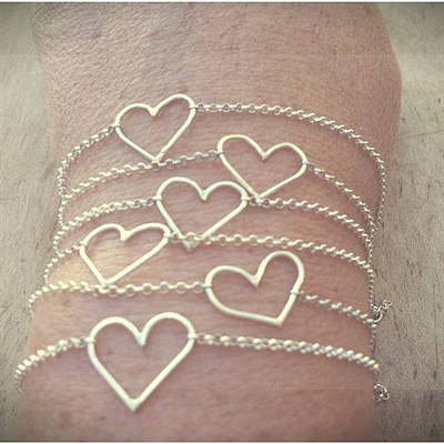 Bridesmaid heart bracelets
