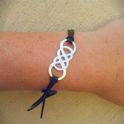 Infinity on leather bracelet