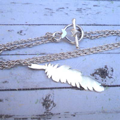 Boho feather sterling silver bracelet