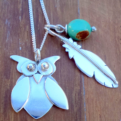 Owl pendant with feather and turquoise