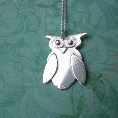 Owl pendant sterling silver