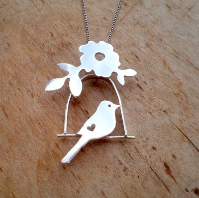 Love bird with floral detail pendant