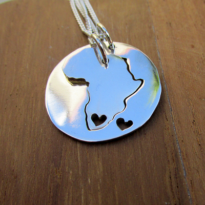 2 Africa with heart pendants