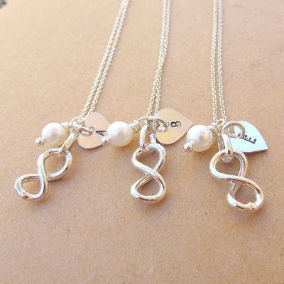 Infinity sign, hand stamped heart and pearl
