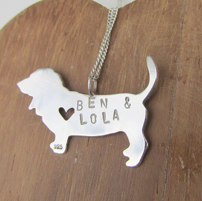 Custom made basset hound with hand stamped names