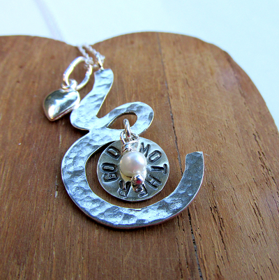 Godmother/ Mother to be pendant with freshwater pearl