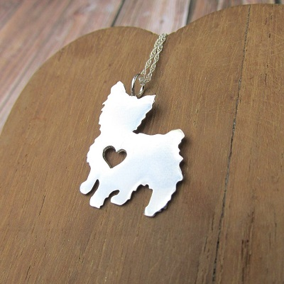 Yorkie pendant with heart cutout