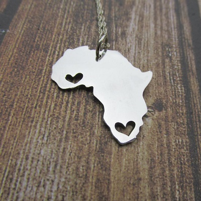 Large Africa pendant with 2 hearts and engraving on back