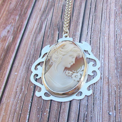 Large cameo in vintage frame necklace